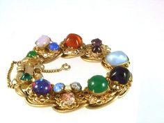 Schiaparelli  ART GLASS FOILS DRAGONS BREATH Vintage Bracelet -Safety Chain 19cm