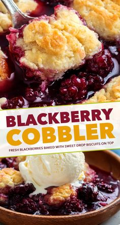 dessert recipes 222154194108271543 - This easy summer Blackberry Cobbler is made with fresh berries and a sweet biscuit-like topping! Top with ice cream and enjoy! Source by thechunkychef Easy No Bake Desserts, Köstliche Desserts, Delicious Desserts, Yummy Food, Alcoholic Desserts, Dessert Dishes, Homemade Desserts, Plated Desserts, Fruit Recipes