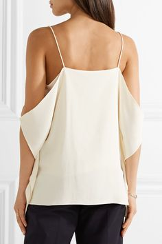 Theory - Petteri Cold-shoulder Crepe De Chine Top - Ivory - x small