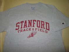 Team Issue Stanford Cardinal  NCAA  T Shirt - M - Gray - Track & Field #Champion #StanfordCardinal