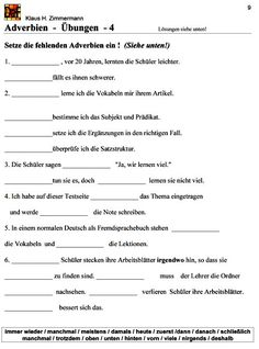 Deutsch als Fremdsprache DaF DaZ Grammatik - Adverbien | deutsch ...
