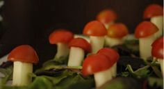 alice in wonderland baby shower snacks toadstools menu table centerpiece with cheese sticks and tomato tops