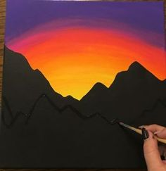 Paint a Mountain Sunset (for Beginners): 10 Steps (with Pictures) Easy Canvas Art, Simple Canvas Paintings, Small Canvas Art, Easy Canvas Painting, Cute Paintings, Oil Painting Abstract, Diy Painting, Acrylic Canvas, Indian Paintings