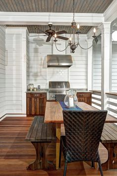 Take a look inside this lovely South Carolina beach house. A South Carolina beach house tour. House Front Porch, Screened In Porch, Front Verandah, South Carolina, Carolina Beach, Porch Grill, Building A Porch, Built In Grill, Kitchen On A Budget