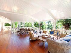 Verandah love the space.too dark? Outdoor Rooms, Outdoor Living, Porch And Balcony, Bahamas, Queenslander, House Inside, Decks And Porches, House Goals, Outdoor Entertaining
