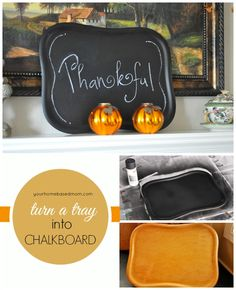 Easy DIY Thanksgiving Menu Board Idea! All you need is an old tray & some chalkboard paint!