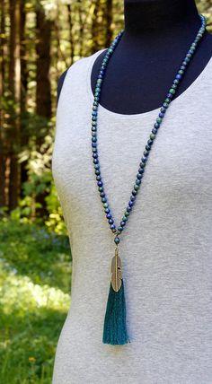 Crafts To Sell Lapis Chrysocolla Mala 108 Bead Mala Prayer Beads Lapis Diy Necklace, Tassel Necklace, Necklace Tutorial, Tassel Jewelry, Wire Jewelry, Jewelry Crafts, Jewellery, Jewelry Findings, Jewelry Ideas