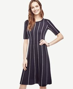 """2017.01.29 $129 (tall sizes too) Ann Taylor - Cast in flattering pinstripes, our softly flared sweater dress is first in line. Jewel neck. Short sleeves. 25"""" from natural waist."""
