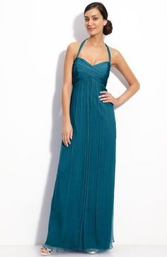 AMSALE Chiffon Halter Gown TEAL Size 10 #162 NEW #AMSALE #BallGown #Formal