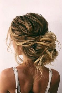 Wedding Hairstyles And Romantic Bridal Updos ★ romantic wedding updos messy bun with bold side dutch braid on blonde hair oksana_sergeeva_stilist frisuren haare hair hair long hair short Up Dos For Medium Hair, Medium Hair Styles, Short Hair Styles, Bun Styles, Hair Medium, Strapless Dress Hairstyles, Down Hairstyles, Updos Hairstyle, Bridesmaid Updo Hairstyles