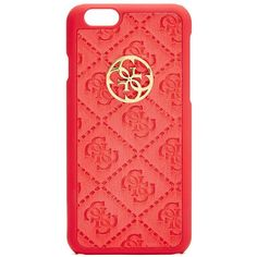 GUESS Red La Vida Logo iPhone 6 Case ($20) ❤ liked on Polyvore featuring accessories, tech accessories, phone, phone cases, iphone, tech, red, logo iphone case, iphone hard case and apple iphone cases