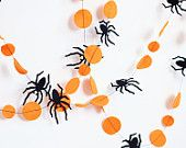 Orange and black Halloween garland, Creepy, Bat garland, Halloween decorations. $15.00, via Etsy.