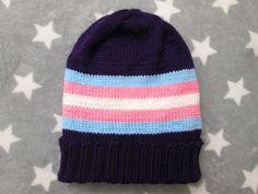Knit Pride Hat  Trans Pride  Purple Slouchy Beanie