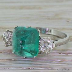 Art Deco 4.02 Carat Cabochon Emerald