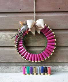shotgun cartridge and pheasant feather Christmas wreath christmas decoration http://countrycraftybits.co.uk/