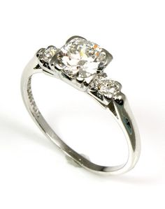 Antique Platinum and Diamond Engagement Ring