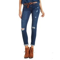 Charlotte Russe Dark Wash Denim Kan Can Destroyed Skinny Jeans by... ($39) ❤ liked on Polyvore featuring jeans, dark wash denim, ripped jeans, white jeans, super skinny jeans, dark denim skinny jeans and distressed skinny jeans