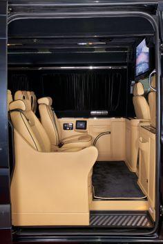 Klassen Excellence Sprinter Mercedes-Benz MSD 1201 Family Company Business Luxury Van with 10 seats and Lagage Box. Luxury Van, Luxury Life, Jets, Customised Vans, Best Cars For Teens, Honda Odyssey, Luxury Camping, Sprinter Van, Cute Cars