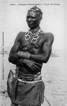 "Africa   ""Diola man"".  Senegal   Vintage Postcard; ca. 1880 - 1905. Photographer Edmond Fortier."