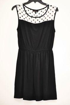 WEAVERS Women's Dress Lace trim Dot Sleeveless Black Knee Length size M NEW #Weavers #Dress #Casual