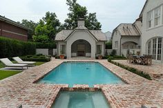 Tips and Guides to Choose The Right Patio Furniture Pool with brick patio Outdoor Spaces, Outdoor Living, Outdoor Kitchens, Living Pool, Piscina Interior, My Pool, Pool Spa, Brick Patios, Dream Pools