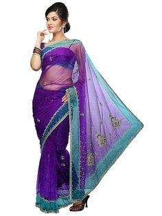 Terrific net saree in purple color. Item Code: SVM7060