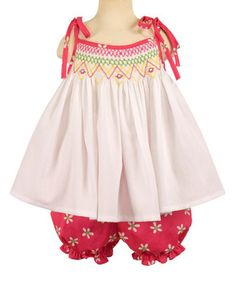 Loving this White Daisy Smocked Top & Red Bloomers - Infant on #zulily! #zulilyfinds