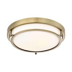 This slim and sleek ceiling flush mount offers a white glass shade and Natural Brass finish to beautify any room. This fixture needs to be hardwired. Professional installation is recommended. Dining Room Light Fixtures, Kitchen Lighting Fixtures, Hallway Designs, Transitional Wall Sconces, Flush Mount Lighting, Cool Floor Lamps, Hanging Lights, Glass Shades, Brass