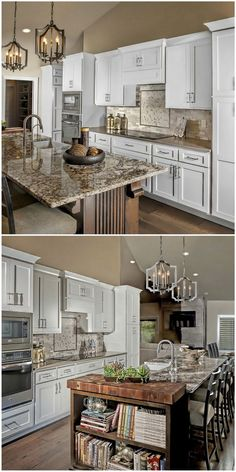 The beaded end panel on this island provides texture in an otherwise sleek kitchen.