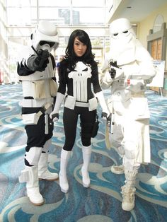 Lady Punisher with stormtroopers (cosplay)