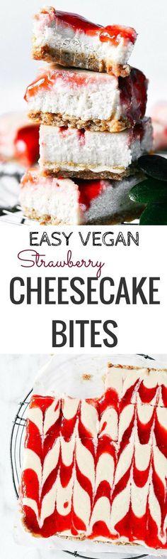 "Easy Vegan Strawberry Cheesecake - Paleo Gluten Free Eats - Easy No Bake Vegan GF Strawberry Cheesecake. Only 5 Ingredients! "" Easy No Bake Vegan GF Strawber - Cheesecake Sans Lactose, Cashew Cheesecake, Dairy Free Cheesecake, Cheesecake Bites, Strawberry Cheesecake, Cheesecake Recipes, Vegan Treats, Vegan Foods, Vegan Desserts"