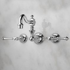 Vintage Wall Mount Kitchen Faucet with Lever Handles - Chrome. $209.95,