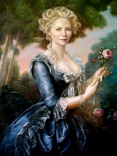 Portrait interpretation of Kirsten Dunst as Marie Antoinette by Gunnar Ahmer. http://www.houzz.com/photos/10820511/Murals-traditional-los-angeles
