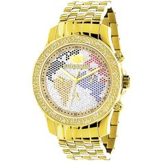 Luxurman World Map Mens Diamond Watch 0.25ct Yellow Gold