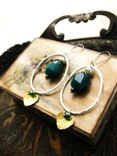 Blue Earrings Gemstone brass love hearts by AllThingsPretty, $28.00