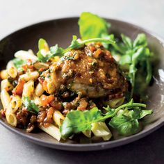 Abigail Donnelly's recipe for chicken with rocket and red pepper pesto. Parmesan Pasta, Chilli Flakes, Penne Pasta, Arugula, Red Peppers, Poultry, Pesto, Dessert Recipes, Desserts