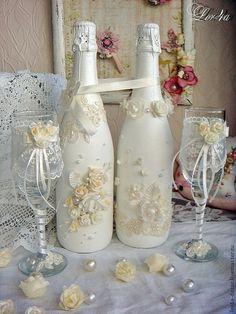 Купить Свадебный комплект - белый, свадьба, свадебное шампанское, свадебные бокалы, свадебные свечи