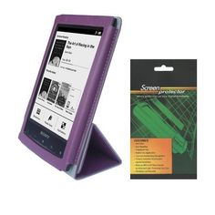 iShoppingdeals - Purple Folio PU Leather Cover Case and Anti-Glare Matte Screen Protector Shield for Sony PRS-T2 eReader by iShoppingdeals. $10.99. (Non OEM) Faux Leather Cover and Matte Screen Protector. Save 56%!