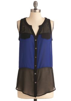 Cobalt and Pepper Top - Long, Blue, Color Block, Buttons, Sleeveless, Black, Party