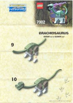 LEGO 7002 Young Braciosaurus instructions displayed page by page to help you build this amazing LEGO Dinosaurs set Lego Dinosaur Sets, Lego Zoo, Walking Staff, Lego Instructions, Lego Ideas, Lego Star Wars, Legos, Monsters, Activities For Kids