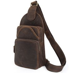 64.78$  Buy here - http://alig3o.worldwells.pw/go.php?t=32695979781 - Tiding Vintage Leather Unbalance Backpack Men Shoulder Purse Cool Sling Chest Bag Simple Daypack 3163