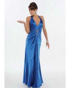 A-line Halter Ruffles Sleeveless Floor-length Elastic Woven Satin Prom Dresses