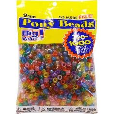 Darice Pony Beads Big Value Pack Assorted Transparent Colors Plastic 9 mm Size 1 000 Pack