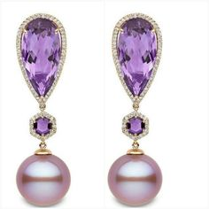 "YOKO London - ""Calypso"" Earrings 18K Rose Gold, Diamonds, Amethysts and Freshwater Pink Pearls 13-14mm."