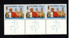 Colombia 1986, Pope John Paul ll, 3 Stamps With Taenia, MNH