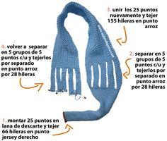 bufanda enrejada en dos agujas