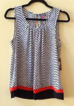 NWT VINCE CAMUTO WOMEN'S MULTI-COLOR 100% POLYESTER SLEEVELESS BLOUSE SZ S-$89 #Vince #Blouse