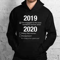 Fiance Engagement Gift 2019 Got Engaged To Most Wonderful Woman - Standard Hoodie Engagement Presents, Gifts For Fiance, Getting Engaged, Hoodies, Sweatshirts, Graphic Sweatshirt, Woman, Fashion, Moda