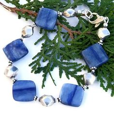 Blue Kyanite Sterling Handmade Bracelet Dolphin OOAK Gemstone Jewelry | ShadowDogDesigns - Jewelry on ArtFire