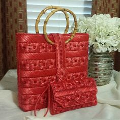 Helena Sassy Unique Handbags & Wristlets - The Original in Bright Coral Red